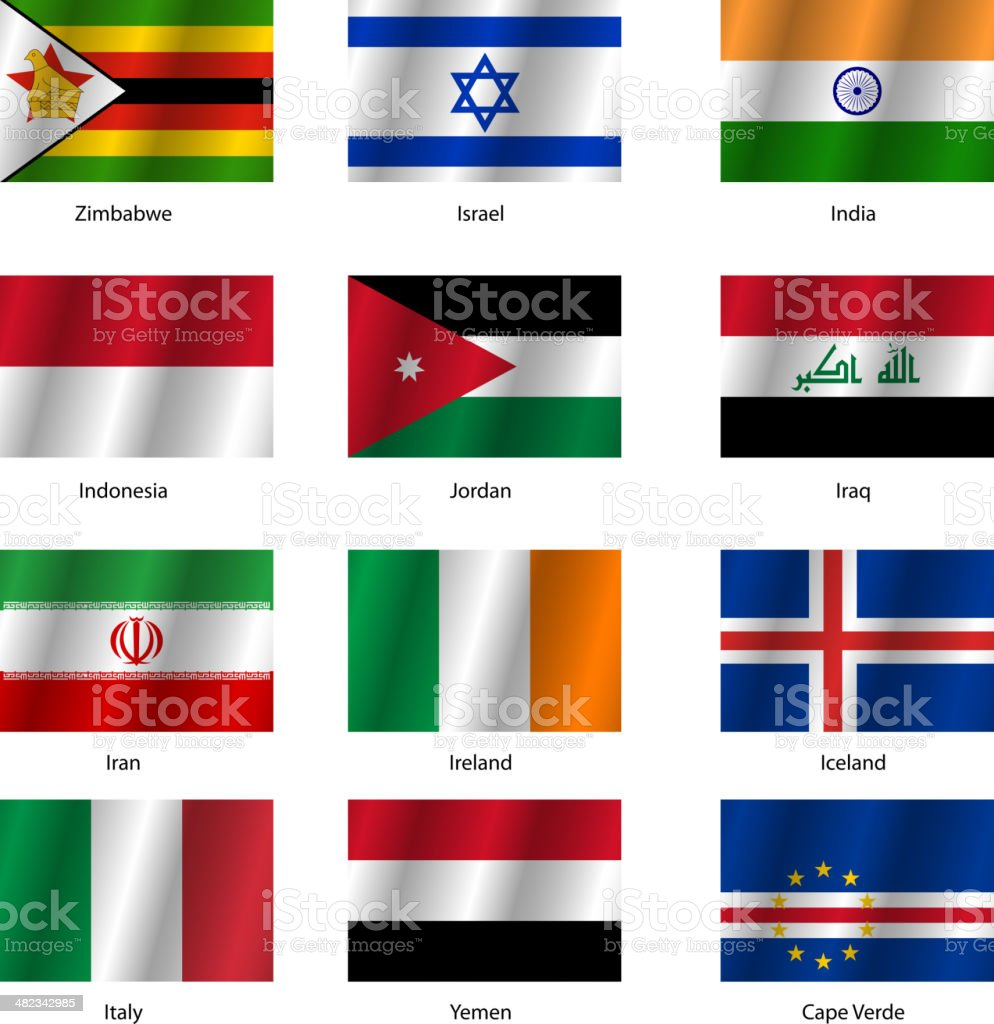 Set  Flags of world sovereign states. vector art illustration