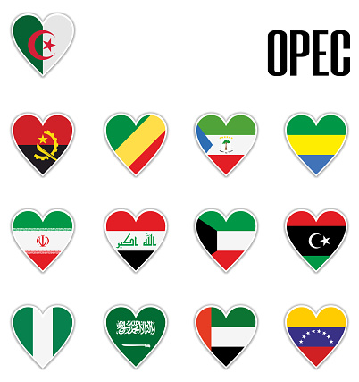 Set flags OPEC in heart with shadow and white outline