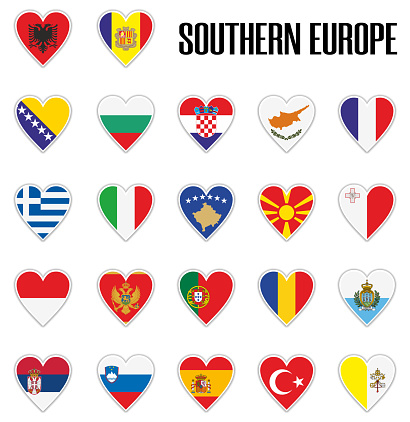 Set flags Southern Europe in heart with shadow and white outline
