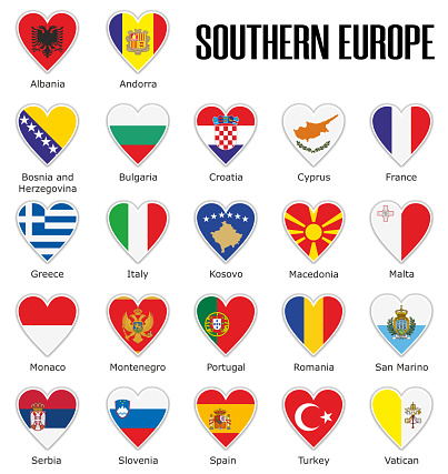 Set flags Southern Europe in heart with shadow and white outline with names