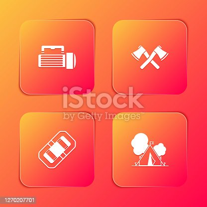 Set Flashlight, Crossed wooden axe, Rafting boat and Tourist tent with flag icon. Vector.