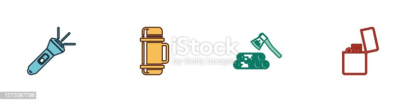 Set Flashlight, Thermos container, Wooden axe and wood and Lighter icon. Vector.
