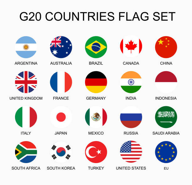 set flat colorful vector circle flags of the country members g20. group of nations. - us flag stock illustrations