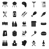 A flat design icon set of barbecue themes icons.