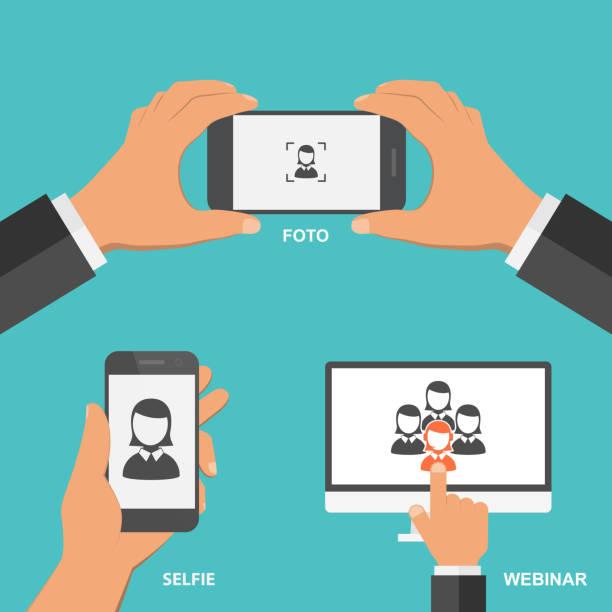 ilustraciones, imágenes clip art, dibujos animados e iconos de stock de conjunto de concepto de diseño plano de la tecnología. - zoom meeting