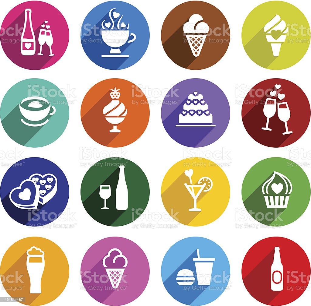 Set flat food icons vector art illustration