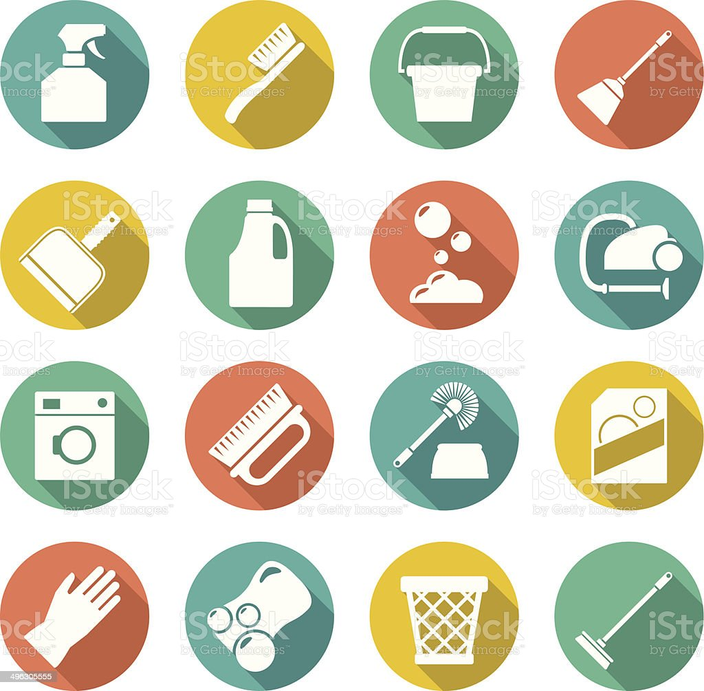 Set flat icons of cleaning vector art illustration