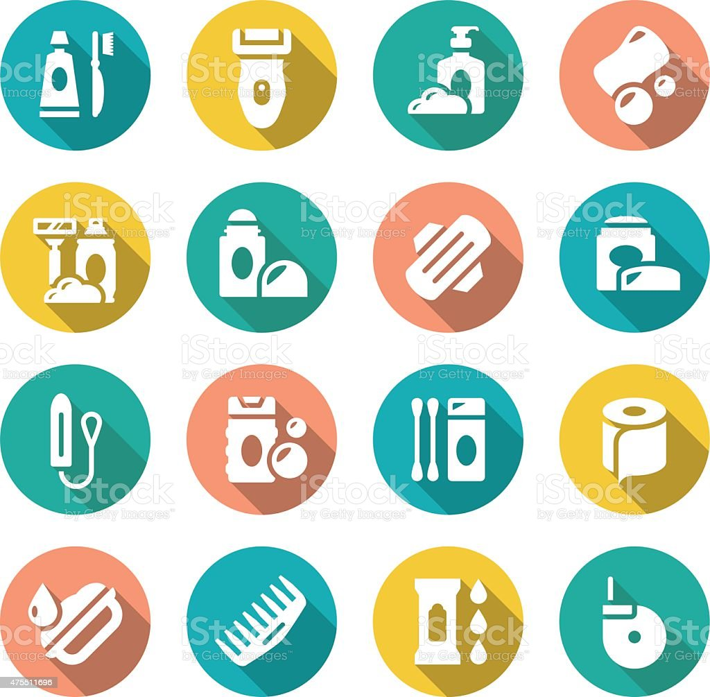 Set flat icons of hygiene vector art illustration