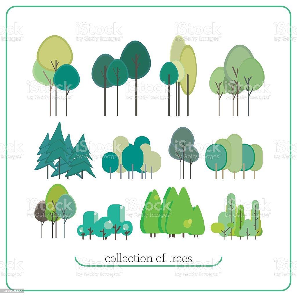 Set flat landscape elements vector art illustration