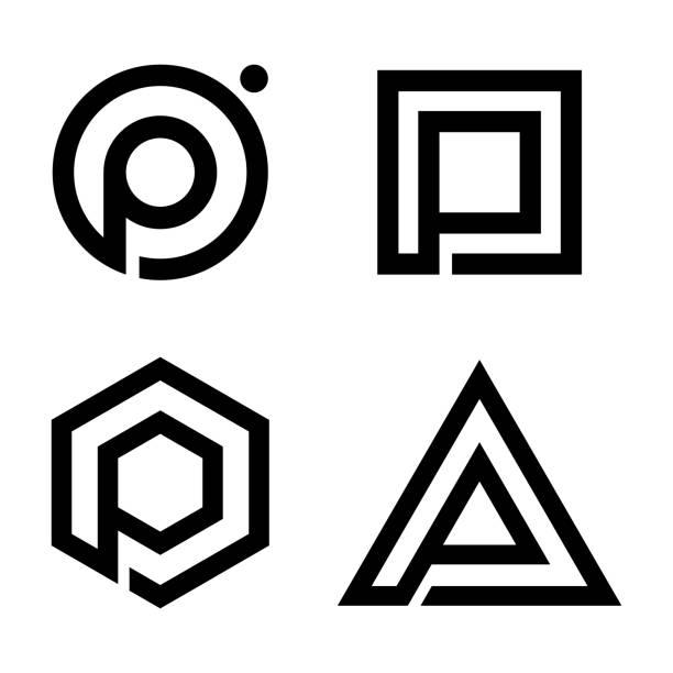 stockillustraties, clipart, cartoons en iconen met instellen van platte letter p symbool voor uw beste business-symbool - letter p