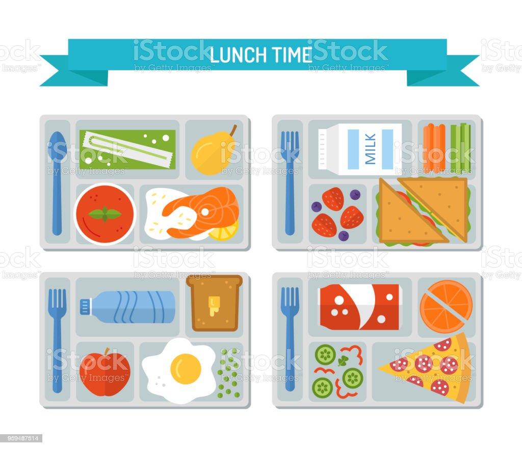 Set flat lunch vector art illustration