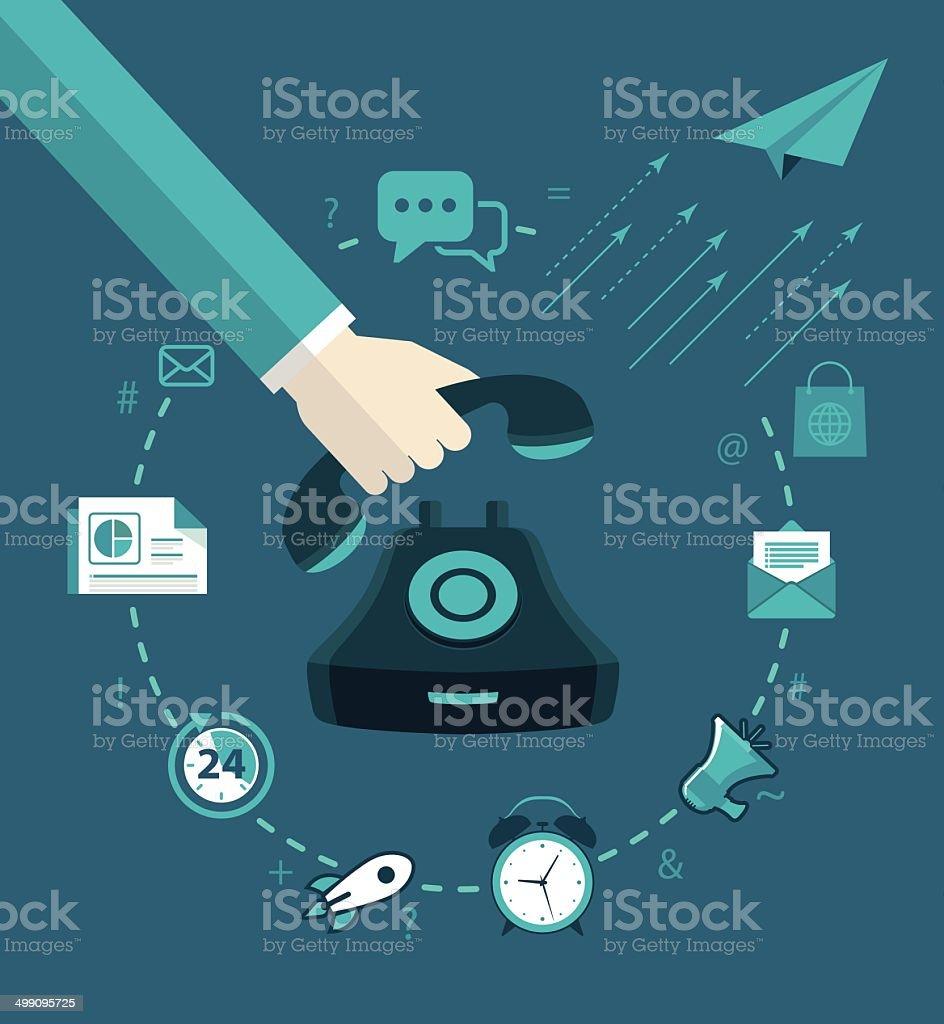 Set flat marketing management vector art illustration