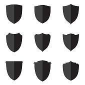 Set flat shield icon for web, Simple flat symbols, guard pictograms. Simple flat pictogram for business, marketing, internet concept. Vector illustration EPS.8 EPS.10