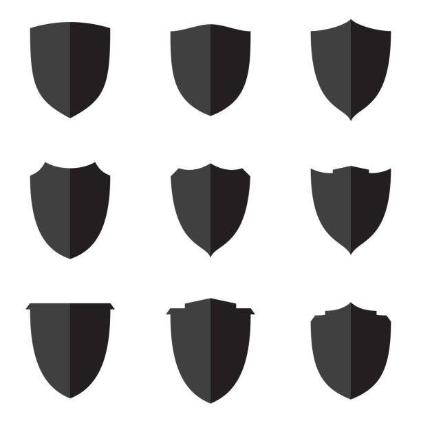Set flat shield icon for web, Simple flat symbols, guard pictograms Set flat shield icon for web, Simple flat symbols, guard pictograms. Simple flat pictogram for business, marketing, internet concept. Vector illustration EPS.8 EPS.10 shield stock illustrations