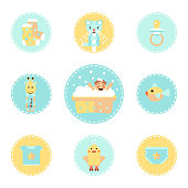 Set flat style icons of baby bathing.