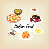 Set flat style icons of traditional italian food.