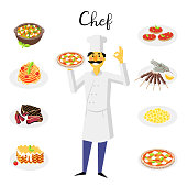 Set flat style icons of traditional italian food with cute character.