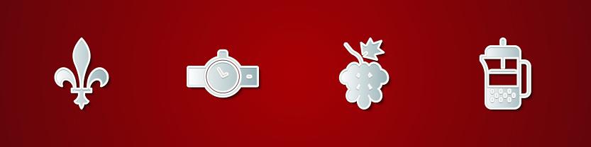 Set Fleur De Lys, Wrist watch, Grape fruit and French press icon. Vector