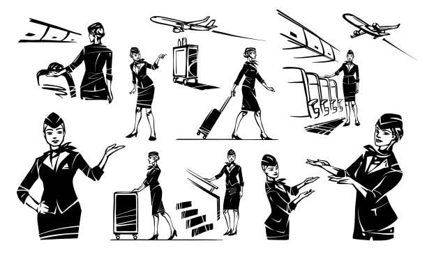 stockillustraties, clipart, cartoons en iconen met set stewardess - stewardess
