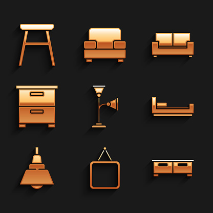 Set Floor lamp, Mirror, Chest of drawers, Bed, Chandelier, Furniture nightstand, Sofa and Chair icon. Vector