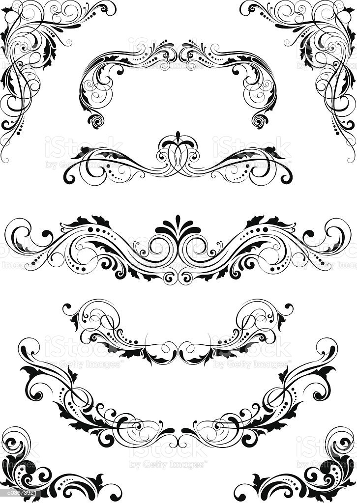 Set floral dividers leaf design vector art illustration