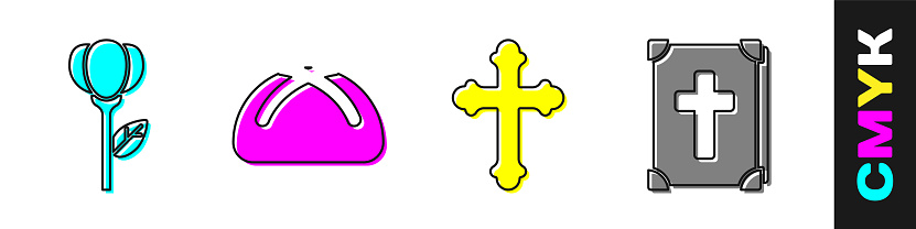 Set Flower tulip, Easter cake, Christian cross and Holy bible book icon. Vector