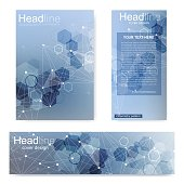 Set flyer, brochure size A4 template, banner. Molecular structure with connected lines and dots. Scientific pattern atom DNA with elements for magazine, leaflet, cover, poster design