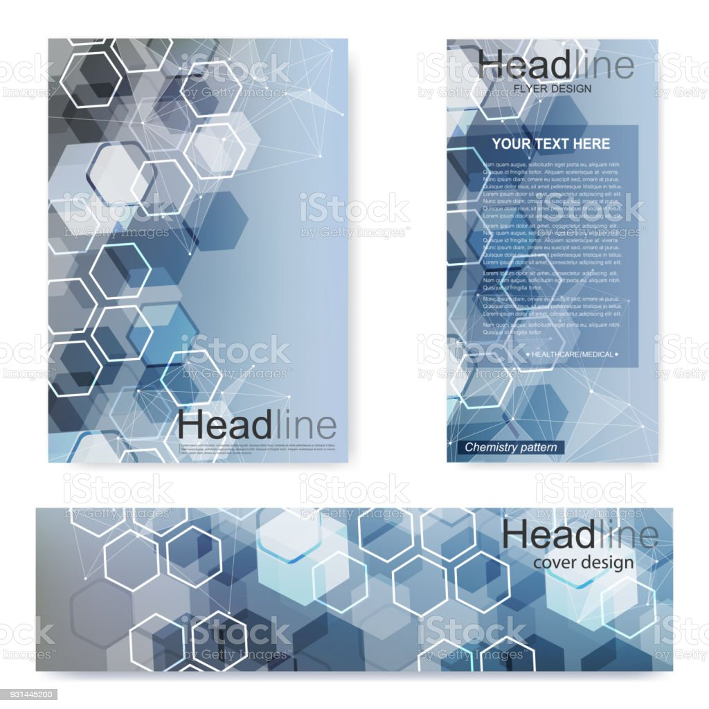 Set flyer brochure size a4 templatebanner molecular structure with set flyer brochure size a4 templatebanner molecular structure with connected lines and ccuart Images