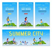 Set Flyer Inscription Summer City, Femily Weekend. Banner Eco Transport, Kidz Zone Cartoon. Parents with Children Use Environmentally Friendly Transportation to get around City Cartoon.