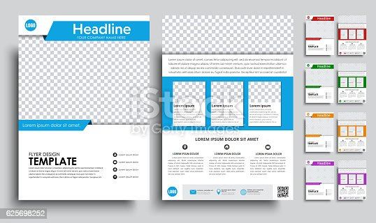 Template flyer A4 with space for a photo. brochure design in 5 color options with ribbons, icons and text. Vector illustrations. Set