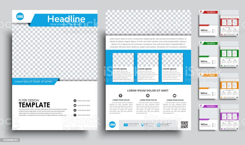 Set flyers (brochure) A4 with empty space for photo vector art illustration