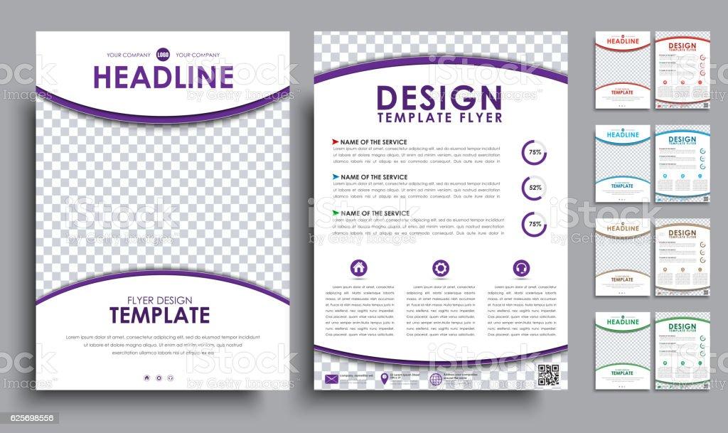 Set flyers (brochure) A4 with empty space for photo – Vektorgrafik