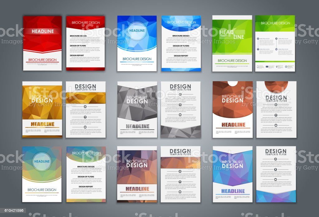 Set flyers and brochures polygonal vector art illustration