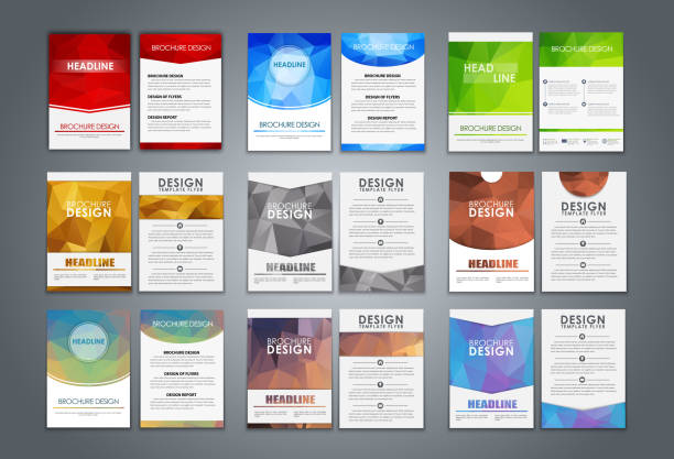 Set flyers and brochures polygonal vector art illustration