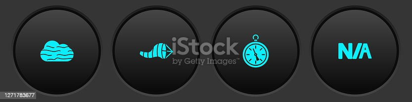 istock Set Fog and cloud, Cone meteorology windsock wind vane, Compass and Not applicable icon. Vector 1271783677