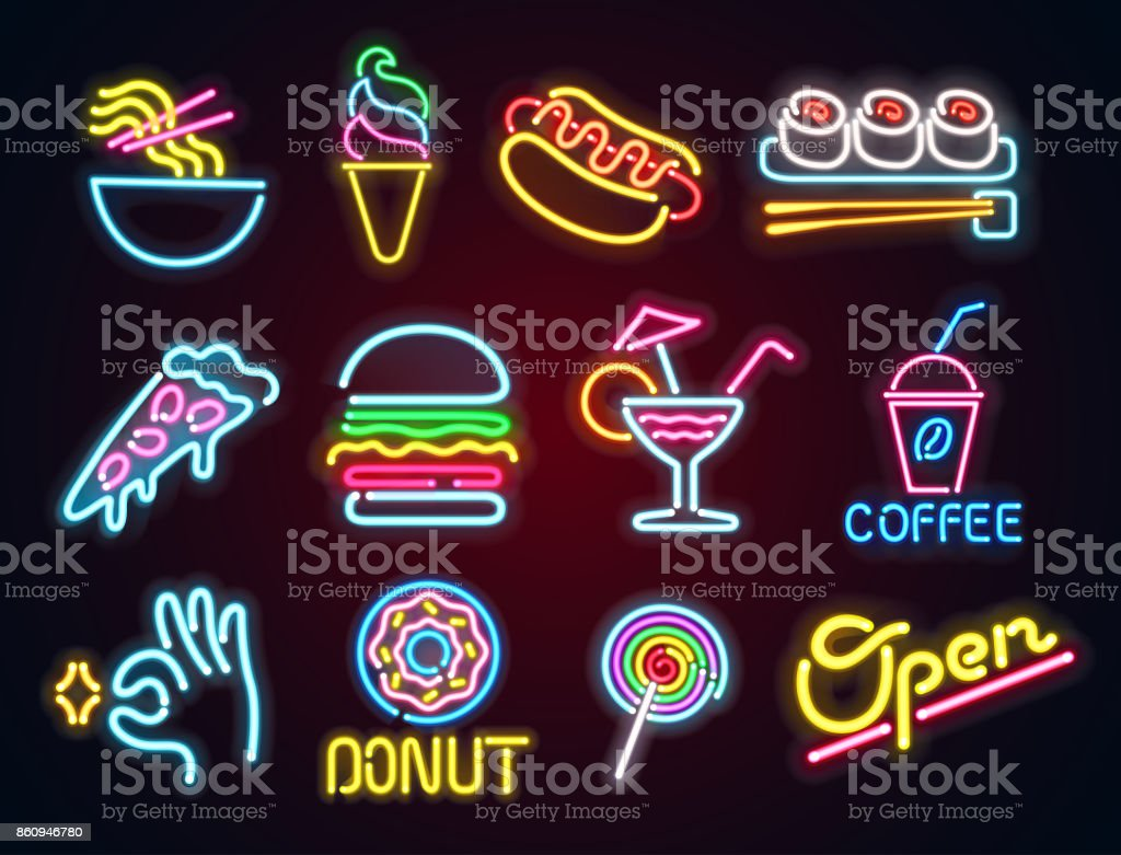 Set food and drink neon sign. Neon sign, bright signboard, light banner. Vector icons vector art illustration