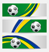 Set football cards in Brazil flag colors