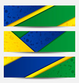 Set football flyers in Brazil flag colors