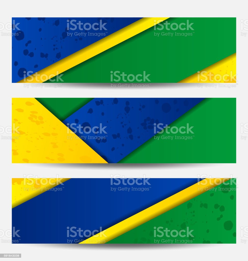 Set football flyers in Brazil flag colors vector art illustration
