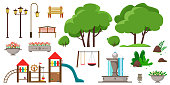 Set for a park or playground from different elements of trees, benches, street lamps, bushes, children's horizontal bars, a flowerpot, dumpster, fountain, stones. Vector