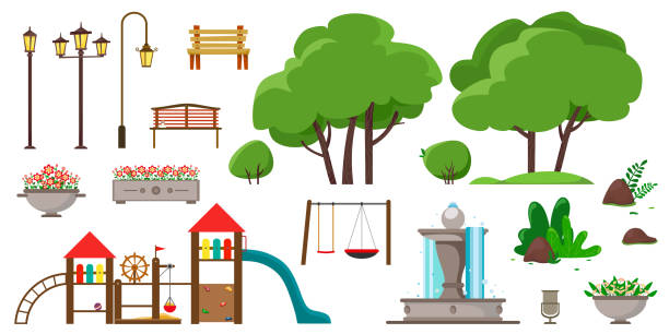 Set for a park or playground from different elements of trees, benches, street lamps, bushes, children's horizontal bars, a flowerpot, dumpster, fountain, stones. Set for a park or playground from different elements of trees, benches, street lamps, bushes, children's horizontal bars, a flowerpot, dumpster, fountain, stones. Vector natural parkland stock illustrations