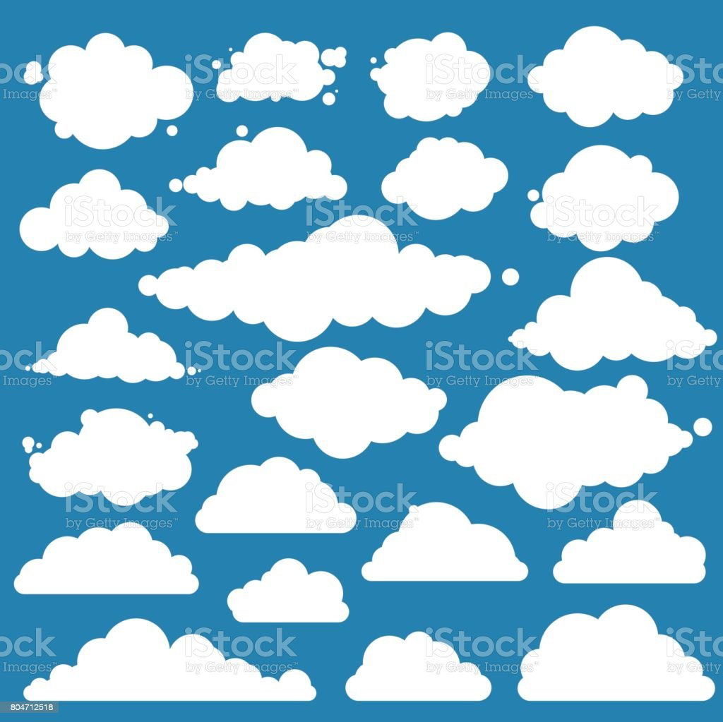 Set for blue sky, different clouds. Flat graphic vector elements