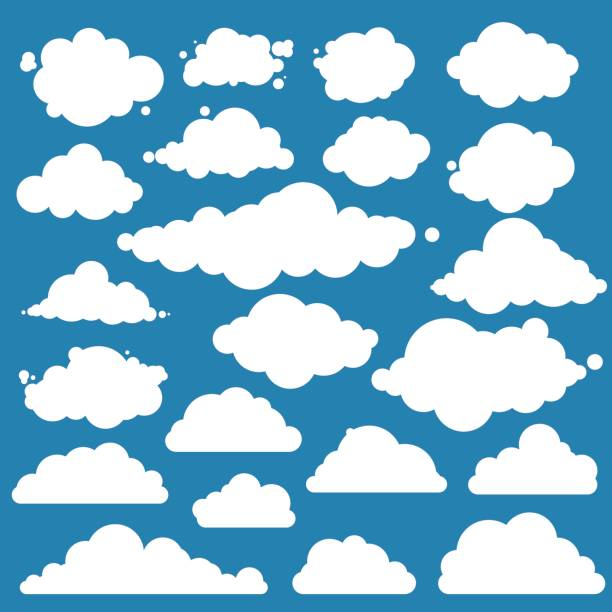 set for blue sky, different clouds. flat graphic vector elements - chmura stock illustrations