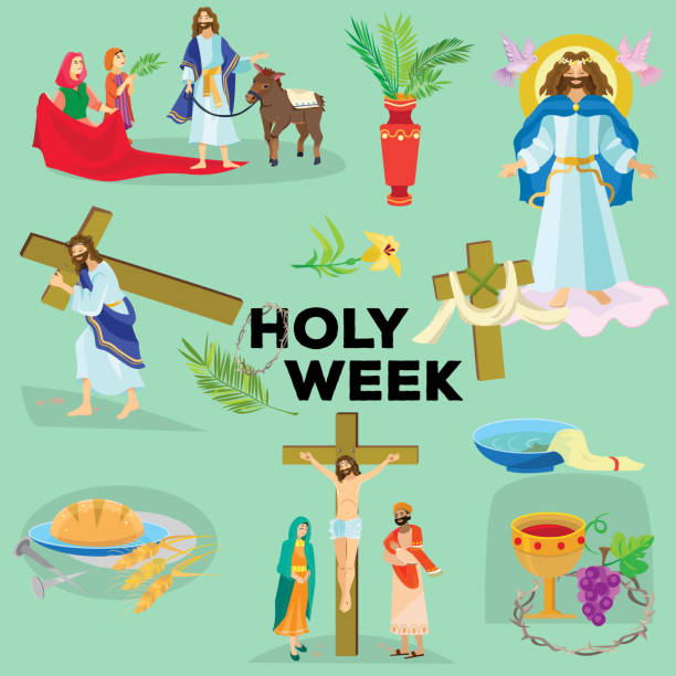 Set for Christianity holy week before easter, Lent and Palm or Passion Sunday, Good Friday crucifixion of Jesus and his death, Stations of Cross, God Last Supper Crown of thorns vector illustration Set for Christianity holy week before easter, Lent and Palm or Passion Sunday, Good Friday crucifixion of Jesus and his death, Stations of Cross, God Passion vector illustration lent stock illustrations