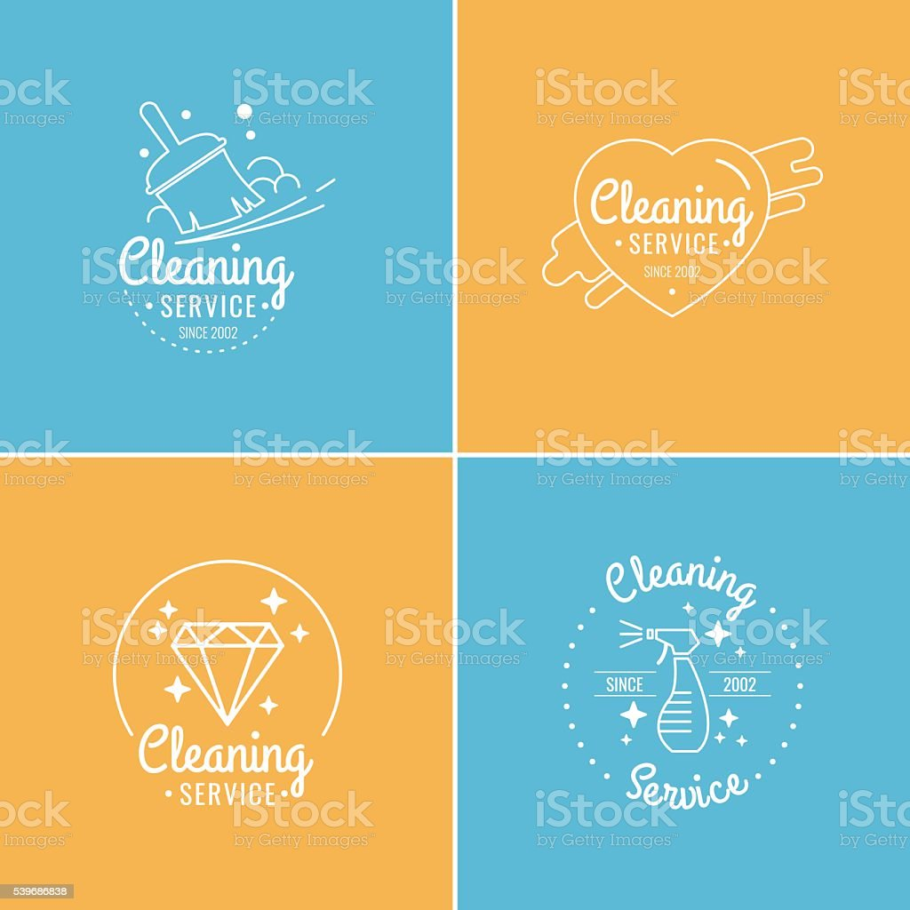 Set for cleaning vector art illustration