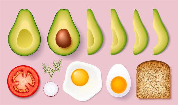 Set for cooking delicious toast with avocados. Vector illustration isolated on white background. Set for cooking delicious toast with avocados. Vector illustration isolated on white background. avocado stock illustrations