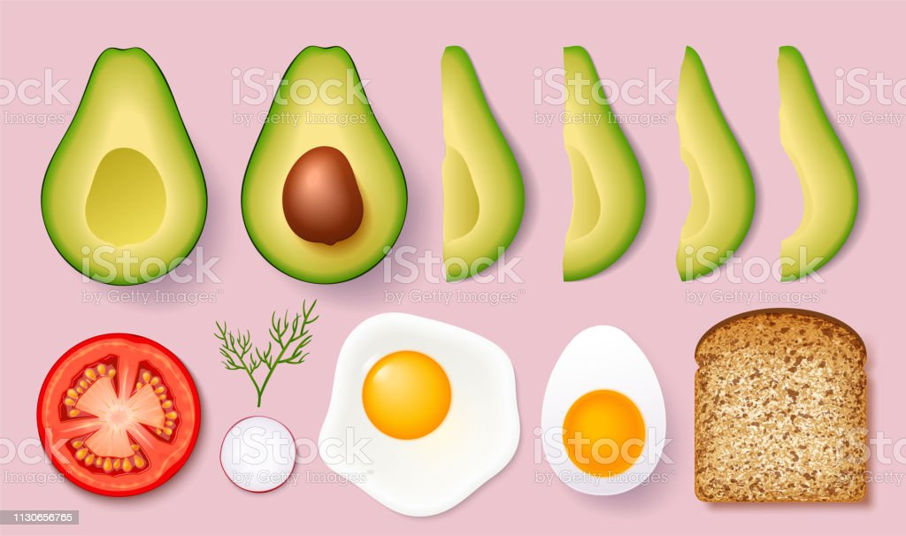 Set for cooking delicious toast with avocados. Vector illustration isolated on white background. vector art illustration