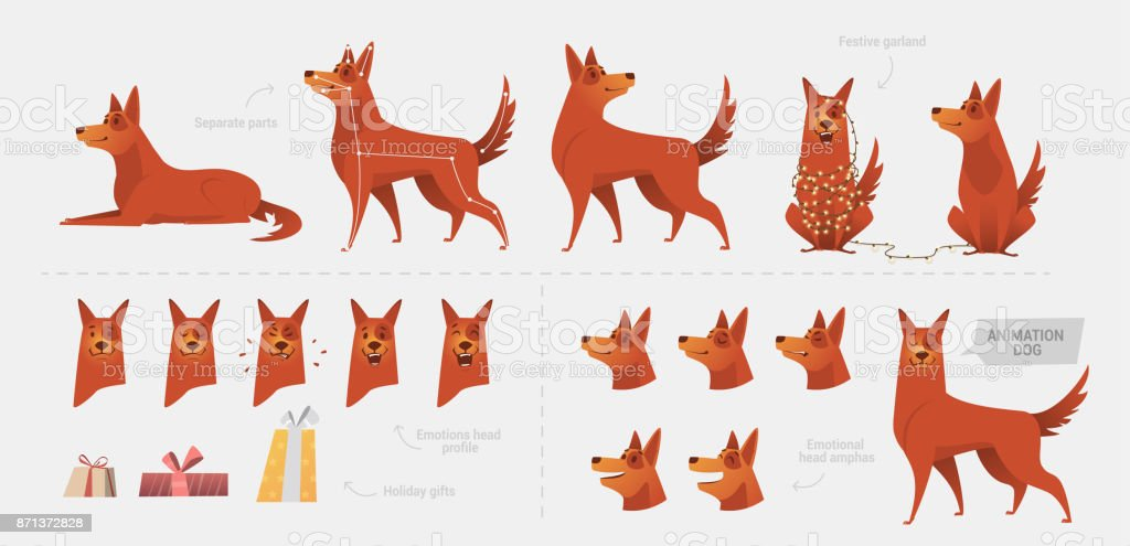 Set for creating a dog animation of emotions. vector art illustration