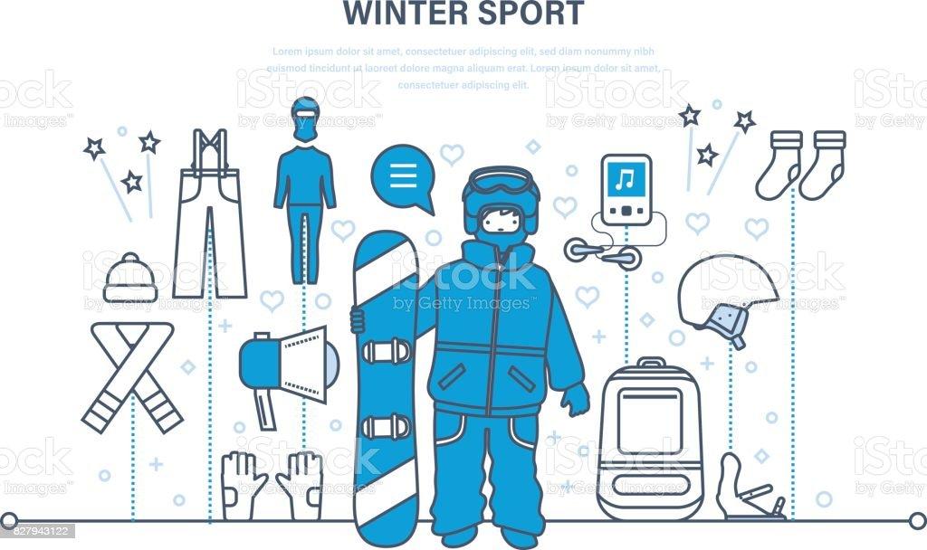 文字冬のスポーツスノーボードの服やツールを作成するための設定します