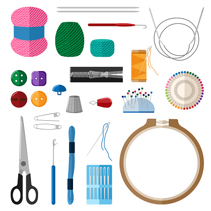 Set for handmade on white background. Kit for handicraft embroidery hoops, threads, yarn, needles, thimble, buttons, pins, scissors, slider.